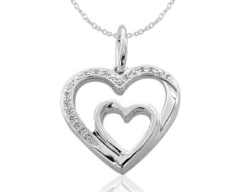 0.25 CT Micro Pave Round Simulated Diamond White Gold Finish Open Heart Mother Love /'MOM/' Pendant Necklace Birthday GiftMothers Day Gift