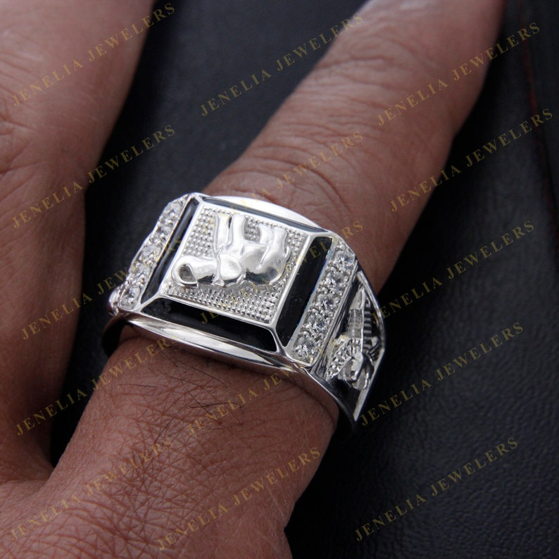 0.75 CT Round Cut Simulated Diamond Accent Elephant Flying Eagle Men/'s Ring White Gold FinishAnniversary RingParty WearFunctional Ring
