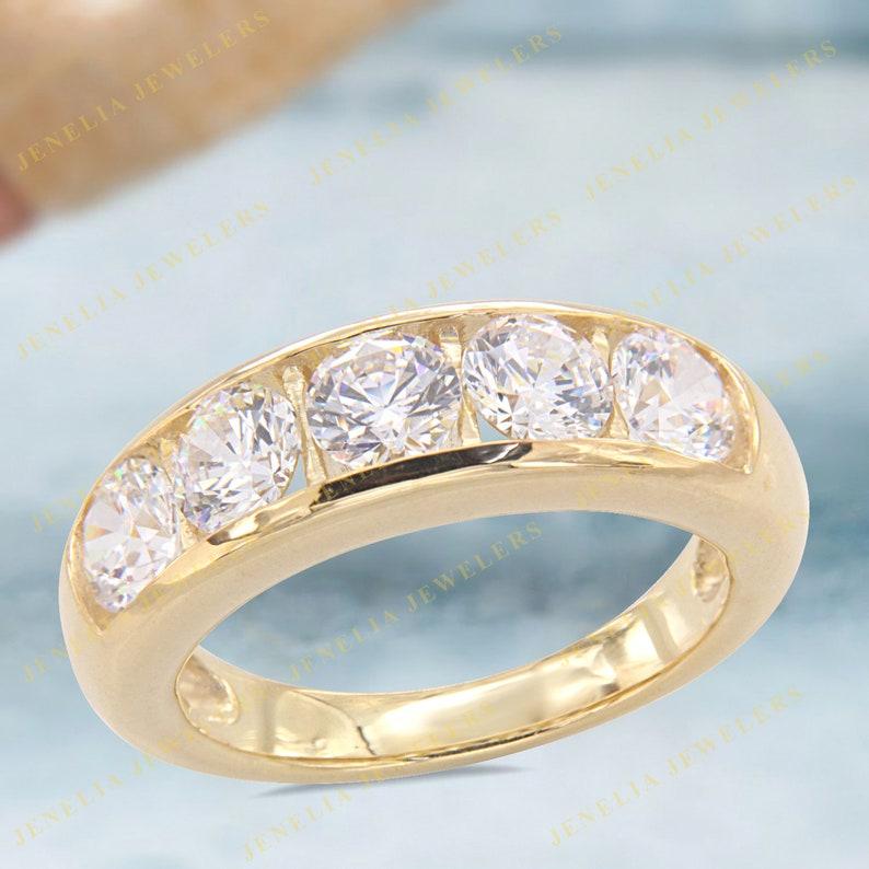 7.25 CT Classic Five Stone Round Cut Simulated Diamond Yellow Gold Finish Unisex Wedding BandAnniversary BandEngagement RingPromise Band