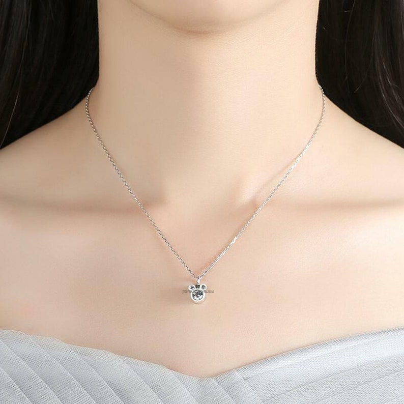 0.50 CT Round Cut Simulated Diamond Disney Mickey Mouse Pendant Necklace White Gold FinishBirthday GiftMothers day Gift