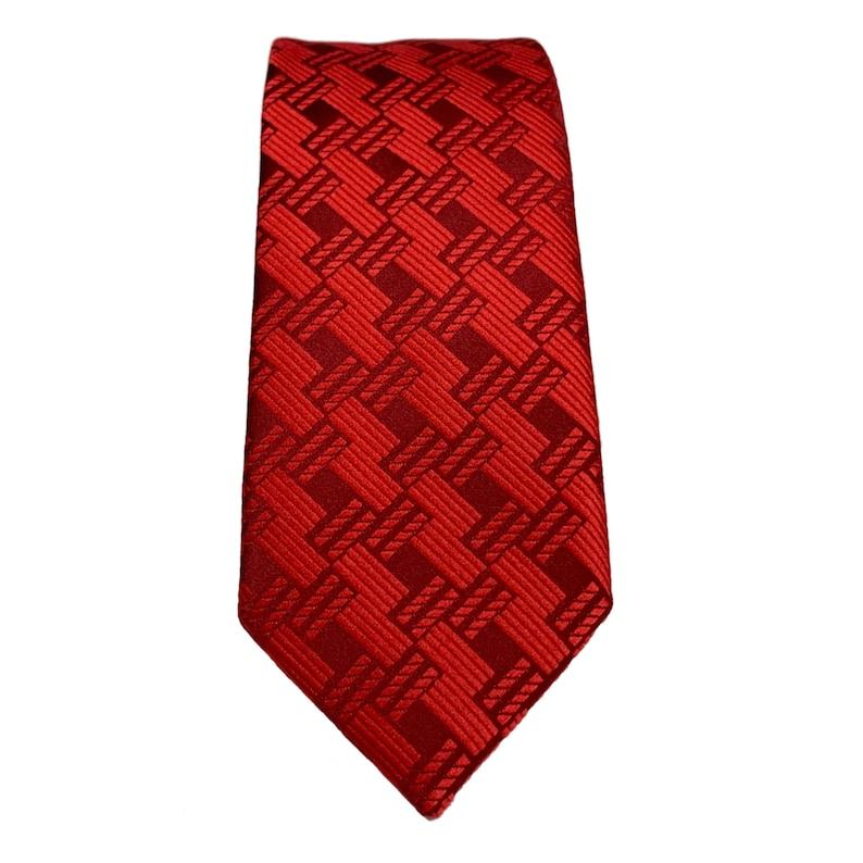 Red self-cut striped tie 2.36 6cm