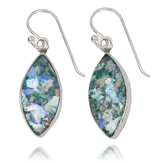 Israeli Jewelry Natural colours glass archaeological Glass Pieces Ancient Roman Glass Silver Jewelry Elegant Roman Glass Earrings