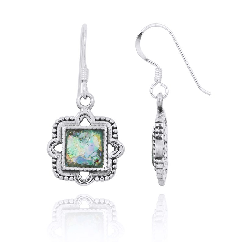 archaeological Glass Pieces Ethnic Roman Glass Silver Earrings Natural Patina colours Ancient Roman Glass Jewelry Israeli Jewelry