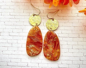 8mm Crushed Orange Carnelian Stone Gold Tone Stud Earrings