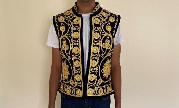 Vintage Velvet Black and Gold Traditional 1970s Af