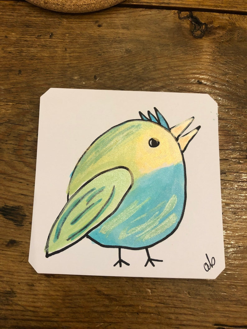 Quirky Blue Round Green /& Yellow