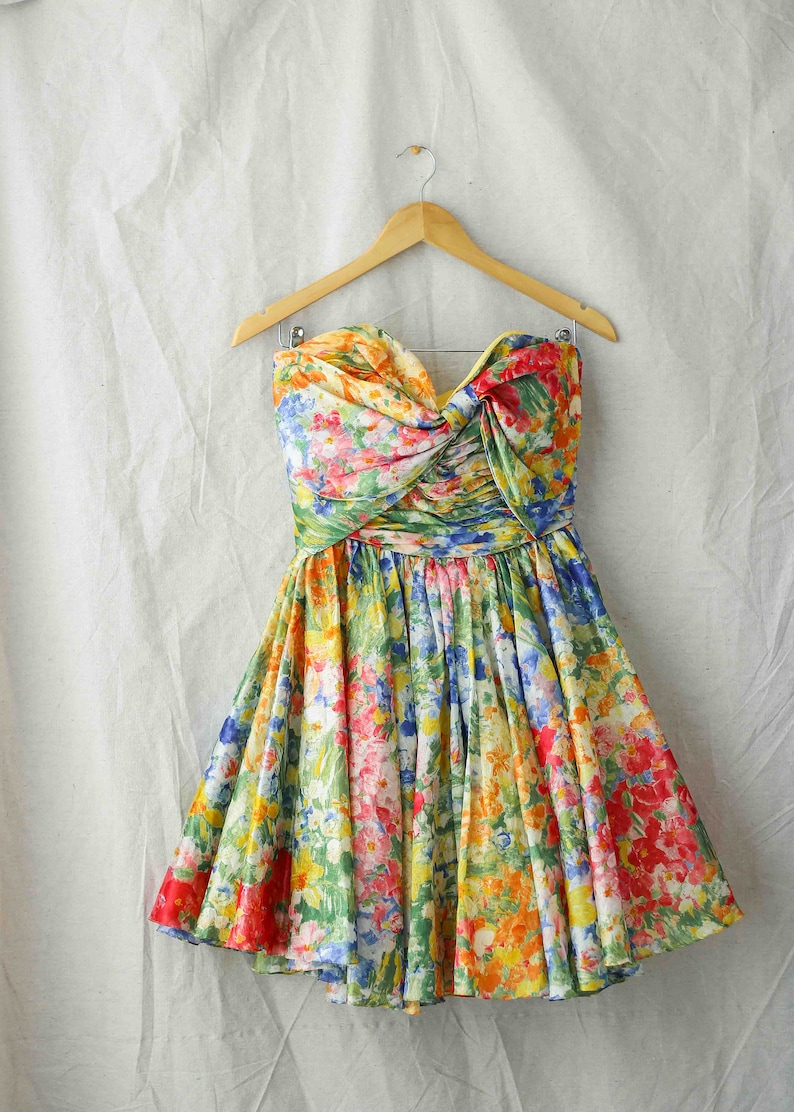 1980s  Jenny Packman for Neiman Marcus Floral Strapless Bow Crinoline Cocktail Dress  US 4