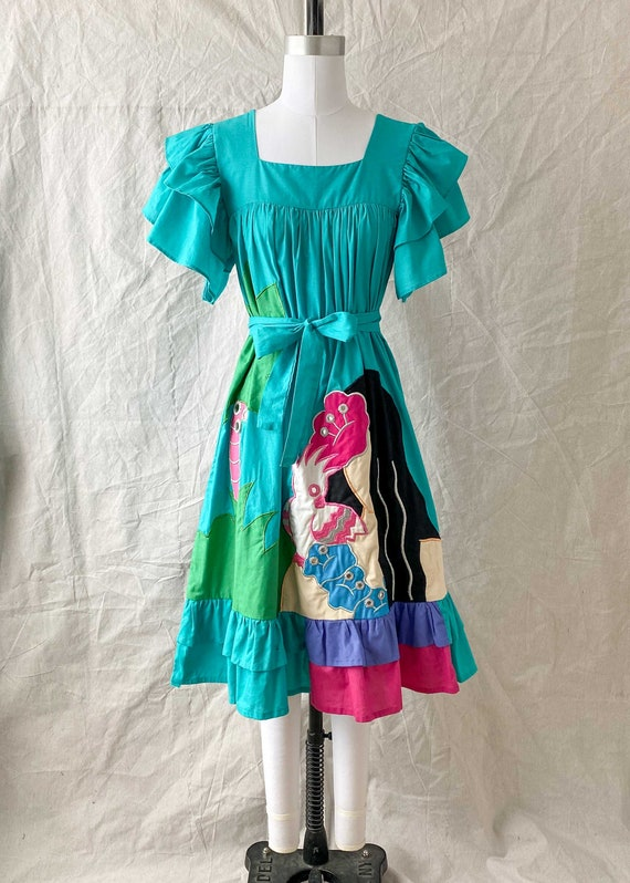 1970s Ramona Rull Cotton Hawaiian Tropical Ruffle… - image 3