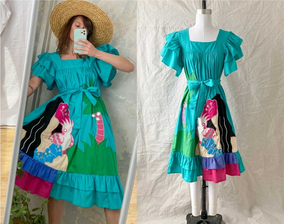1970s Ramona Rull Cotton Hawaiian Tropical Ruffle… - image 1