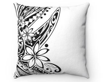 Hawaiian Poly Black And White Spun Polyester Square Pillow Samoan