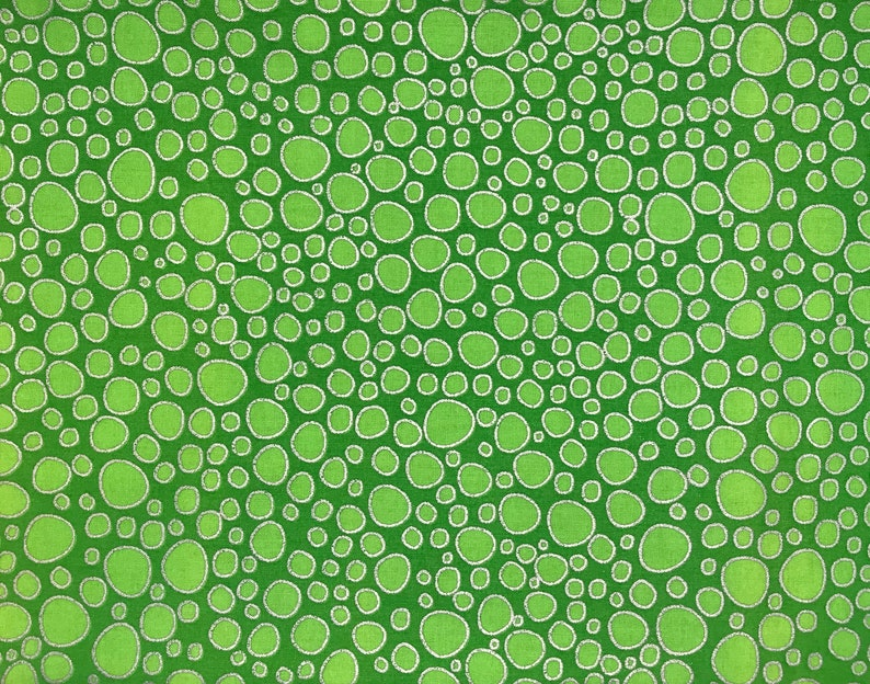 Light Green Bubbles with Silver Metallic Outline on Green Background
