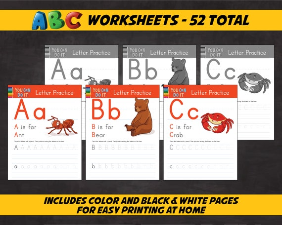 ABC Worksheets For Learning & School. Printable Alphabet Etsy
