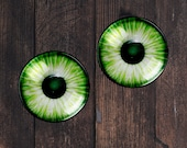 NEON GREEN, Glass eyes, Cabochons in sizes 10mm, 16mm or 25mm