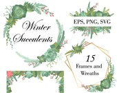 Set of winter succulents wreaths and frames. DIY wedding invitations, Christmas cards, botanical invitations. logo and branding.