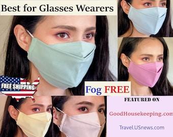 Best face mask for Glasses wearers Anti fog USA handmade easy breathing Japanese cotton 3D professional reusable washable cool for men women