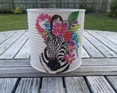 Large 15cm tin zebra indoor planter. Upcycled