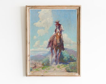 FREE SHIPPING | Vintage Western Painting | Antique Horse Painting | Horseman Oil Painting | Horse Painting | Cowboy Print | Wild West Print
