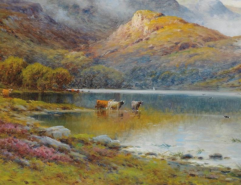 Mountain Lake Painting Mountain Landscape Art FREE SHIPPING Cow Herd Oil Painting Farmhouse Decor