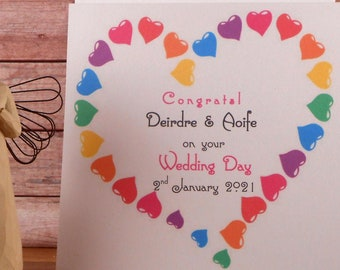 Gay For Couple Two Brides Lesbian Congratulations Personalised Cats Mrs and Mrs Wedding Card Daughter Friends Just Married