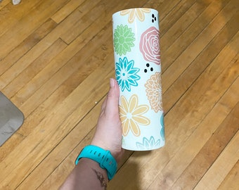 Colorful Floral 20oz Stainless Steel Tumbler   Colorful Travel Cup for Mom, Teenager   Includes Lid and Straw  