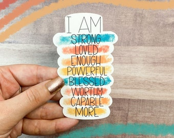 Affirmations Sticker for Laptops, Water Bottles, Planners, Journaling   WHITE   Decals for Gifts   Motivational   2.4x4in