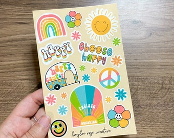 Happy Vibes Sheet 4x6in Sheets   Stickers for Planners, Notebooks, Journaling, BUJO, Water Bottles   Pumpkin Spice   Fall Activities