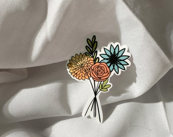 Flower Bouquet Sticker for Laptops, Water Bottles, Planners, Journaling   WHITE   Decals for Gifts   Spring   Floral   2.5x3.5in