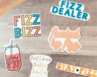Fizz Lover Sticker Pack for Laptops, Water Bottles, Planners, Journaling, Notebooks   WHITE   Decals for Fizz Lovers