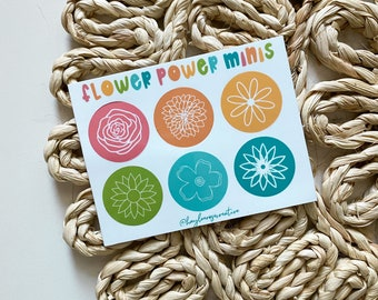 Flower Power Minis Sticker Sheet for Laptops, Water Bottles, Planners, Journaling, Notebooks   WHITE   Decals for Gifts   Floral  