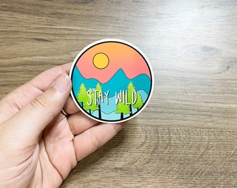 Stay Wild Mountain Sticker for Laptops, Water Bottles, Planners, Journaling, Notebooks   WHITE   Decals for Gifts   Exploring   Mountainsl  