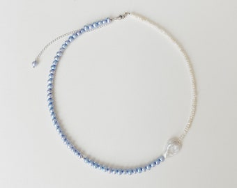 ooak baby blue pearl necklace Mixed pearl necklace