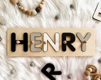Personalized Baby Name Puzzle, Nursery Room Decor, Wooden Kids Name Jigsaw Puzzle, Baby shower First Birthday Gift, Name Puzzle Boy or Girl