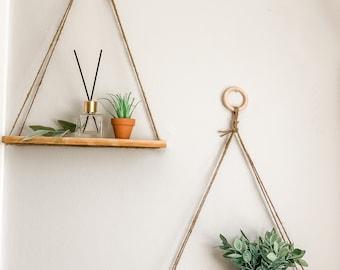 Boho Hanging Shelf (Set of 2) | hanging shelves, hanging planter, macrame shelf, boho wall decor, hanging shelf , lightweight shelves