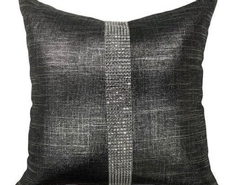 Throw Pillow with Insert Glam Charcoal Rhinestone Stripe Haute Couture Pillows