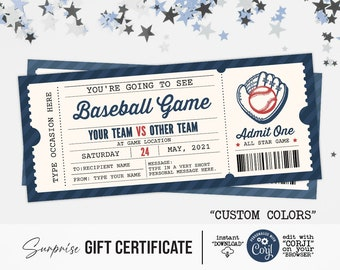 Baseball Game Surprise Gift Ticket, Surprise Ticket to the Football Template for Any Occasion - Editable / Printable