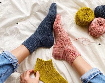 Easy Cabled Socks Knitting Pattern - The Little Black Socks