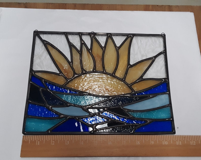 Sun and Ocean Stained Glass Sun Stained Glass Window Suncatcher Sunny Day Stained Glass