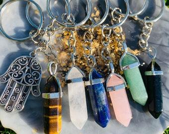 Healing Crystal Resin Pendant Necklace Keychain Citrine Tigers Eye  Sodalite