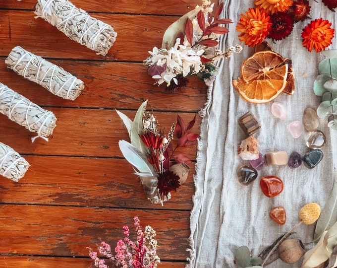 Featured listing image: White Sage and Dried Flower Smudge Stick