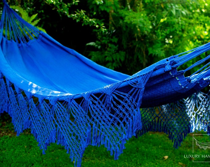 Featured listing image: Blue Luxury Hammock with macrame - 14ft x 5ft - Brazilian Premium Double Handmade w/ Natural Cotton