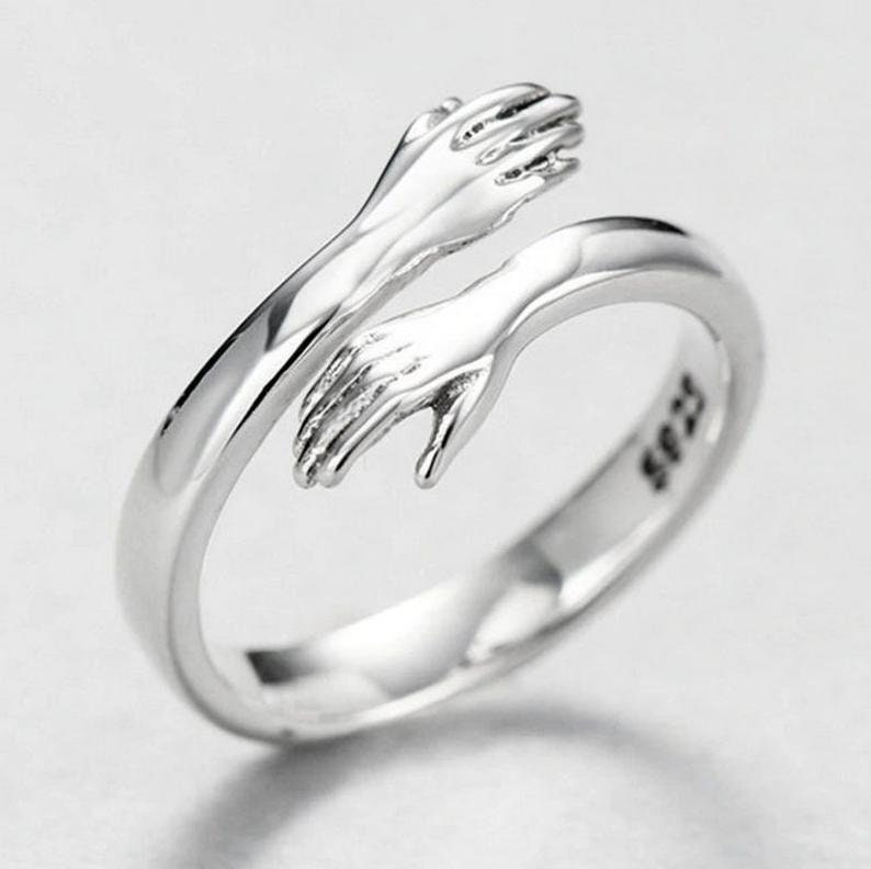 Lover Ring Gift Love Hug Ring Couple Ring Silver Love Hugging Hand Stackable Ring Lady Open Ring Cute Design Ring Creative Love Ring