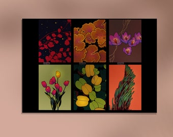 Colorful Flowers A5 Print - Flower and Nature Art - Good Vibes Fine Art Print