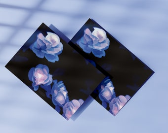 Blue Fairy Roses A5 Print - Flower Art - Magical Fantasy Fine Art Print