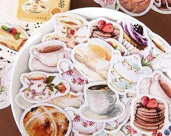 46 pcs, Afternoon Tea Stickers, Kawaii sticker, Sticker flakes, Journal, Planner sticker, Scrapbook Sticker, Cute gift, Die cut, Stationery