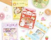 45 pcs, Kawaii Gummy Clear Stickers, Waterproof, Sticker flakes, Journal, Planner sticker, Scrapbook Sticker, Cute, Die cut, Stationery, PET