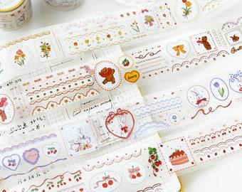 KIKUSUI Washi Masking Tape Flowers Red 15mm x 15m for  Planner Scrapbook Gift Wrap Craft Decor DIY MT Border