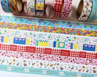 Kawaii Stationary Bobba Tea Rabbits Themed Washi Tape Little Milk Tea Bunny Clear Tape Roll Dessert Bakery Komos Museum