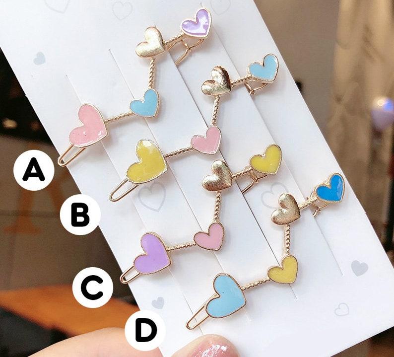 Pastel Color Heart Enamel Gold Hair Clip Cute Accessories Jewelry Kawaii Fashion Shojo Lolita Style Minimalist Hair Clip Cute Gift