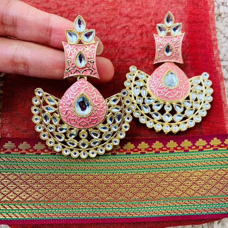 Peach Pink Kundan ChandbaliMeenakari EarringsIndian EarringsPakistani JewelryPunjabi Jhumki