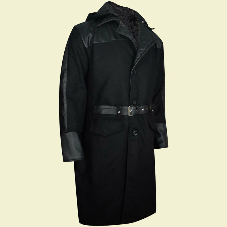 Mens Black Gothic Leather Sleeves Long Coat,Mens Fashion Steampunk Jacket